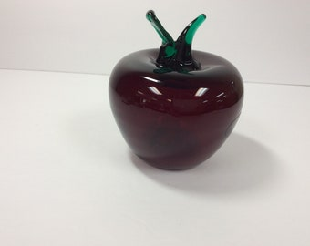 Blenko Glass ruby red apple wil emerald stem and leaf 2003