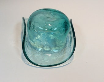 Blenko Glass vintage non catalog hat shaped bowl or dish in antique green crackle