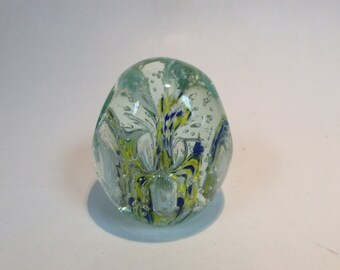 Gentile Glass paperweight pencil holder, four hole. Blue yellow and white center, 1976, Star City WV
