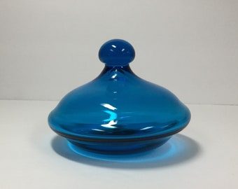 Blenko Glass lid only for 7722 or 7723 canister, turquoise blue