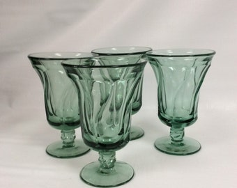 Set of four Fostoria Jamestown green iced tea glasses,