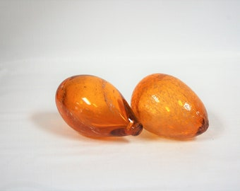 Pair of Blenko Glass Blown Glass Eggs Topaz with White Speckles