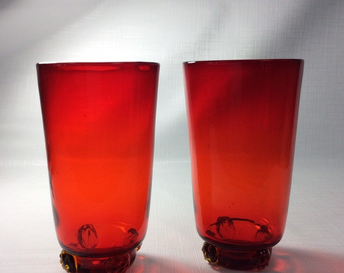 Featured listing image: Pair of Blenko Glass 445HB highball glasses in 1940s ruby red with four applied rosettes, pre designer.