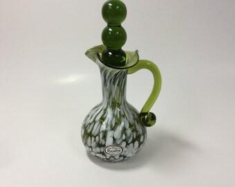 Rainbow Glass Company green and white spatter glass cruet.