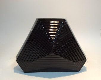 Pilgrim Glass black vase, triangle, pyramid, geometric