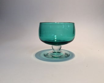 Blenko Glass hand blown sherbet 926S, sea green with crystal stem and foot. Anderson design.