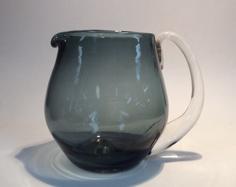 Blenko Glass 3750L pitcher in charcoal with crystal handle , 1950s