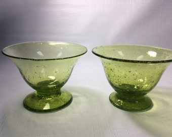 One pair Blenko Glass hand blown sherbet 919S, very seedy chartreuse, Anderson design.