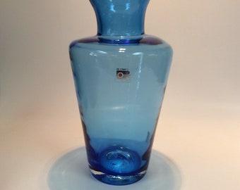 Blenko Glass 912L vase in azure blue