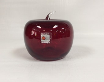 Blenko Glass ruby red apple with crystal stem.
