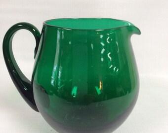 Blenko Glass 3750L pitcher in emerald green.