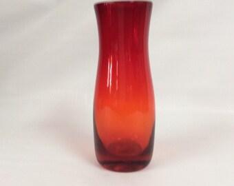 Blenko Glass 737 hand blown vase, tangerine. Nickerson design.
