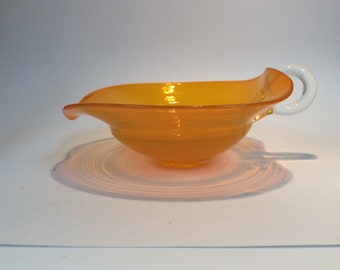 Bischoff Glass hand blown nappy bowl dish in yellow-orange.