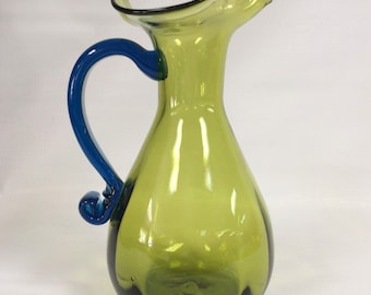 Rainbow Glass Company hand blown D216 duo tone pitcher, green with blue handle