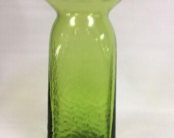 Blenko Glass hand blown textured vase 6610 in olive green, Joel Myers design.