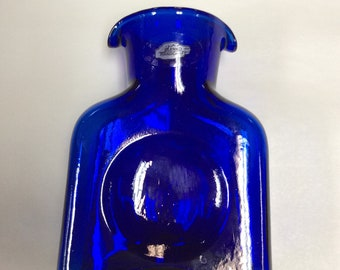Blenko Glass mini water bottle 384M, cobalt blue dated 2018 hand blown