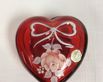 Westmoreland Glass ruby red heart shaped trinket box with painted flowers, signed D Green