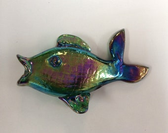 Gibson Glass hand blown fish. Green iridized crackle.