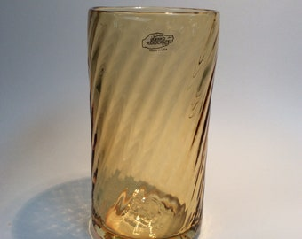 Blenko Glass hand blown  #T990V topaz twisted optic cylinder vase