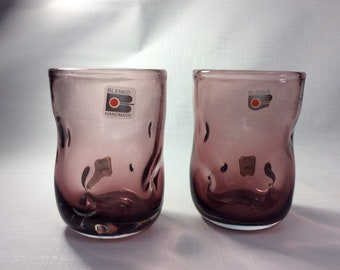 Pair of Blenko Glass hand blown 418S pinched tumblers dusty rose.