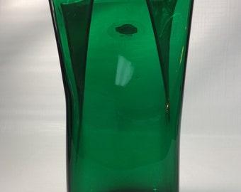 Blenko Glass 8813S paper bag vase in emerald green