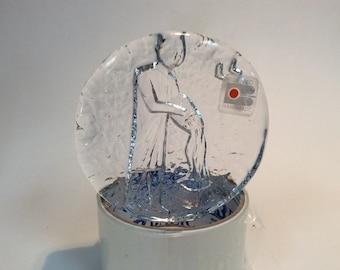Blenko Glass zodiac aquarius disc paperweight, crystal
