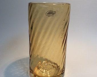 Blenko Glass hand blown  #T990V topaz twisted optic cylinder vase