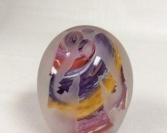 Glass Dimensions Sand Carved Angel Paperweight John Desmeules WV Glass
