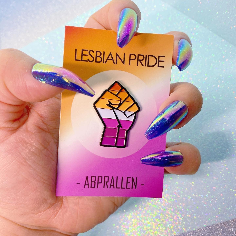 Lesbian Pride Enamel Pin Pink Orange & Pink Community