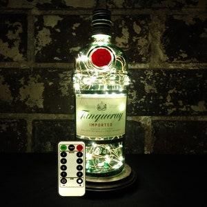 White LED Lights Recycled Liquor Bottle Lamp Upcycled Bombay Sapphire Dry Gin Portable USB Bottle Lamp Man Cave  Office  Bar  Kitchen