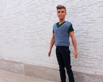 Ken Doll clothes, Blue vest for Ken, Ken knit clothes, Ken knit vest, Handmade Ken clothes, Ken sweater, boy doll clothes