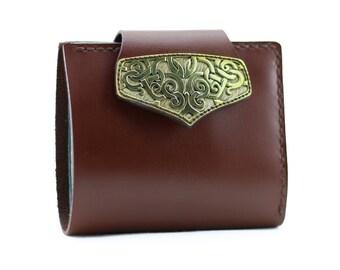 Women's Genuine Leather Wallet. Brown-blue