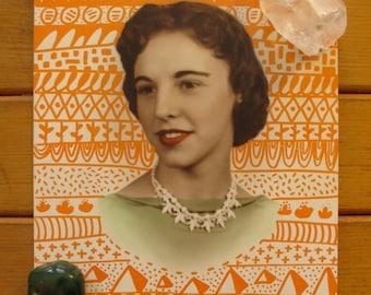 Vintage Head Shot with Orange: Original