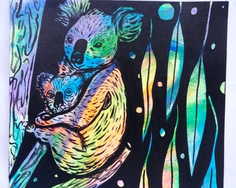 Koala Mother and Baby - Colorful Neon Black Acrylic Painting on Canvas