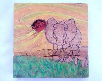 Elephant Mother and Baby - Mixed Media Drawing / Watercolor Gouache Painting on Wood