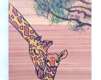 Giraffe Mother and Baby - Mixed Media Drawing / Watercolor Gouache Painting on Wood