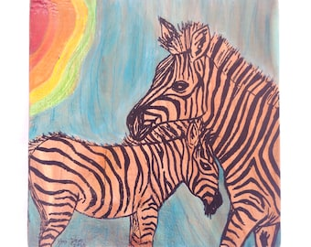 Zebra Mother and Baby - Mixed Media Drawing / Watercolor Gouache Painting on Wood