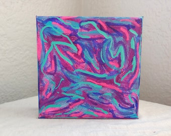 Dreamstate // Abstract Intuitive Blue Purple Pink Swirl Acrylic Canvas Square Painting