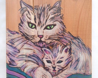 Cat Mother and Baby - Mixed Media Drawing / Watercolor Gouache Colored Pencil Painting on Wood