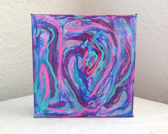 Labyrinth // Abstract Intuitive Blue Purple Pink Swirl Acrylic Canvas Square Painting