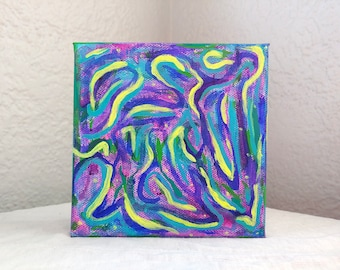 Dance Party // Abstract Intuitive Neon Yellow Blue Purple Swirl Acrylic Canvas Square Painting