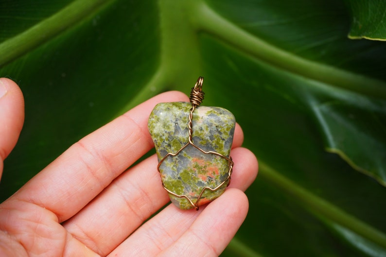 Tumbled Unakite Wire Wrapped Stone Pendant Necklace