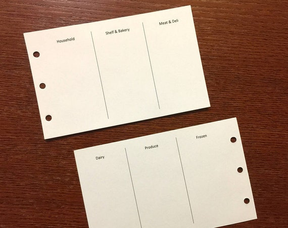 M2 planner grocery list refills, white, 40 sheets (Filofax M2 size) printed inserts
