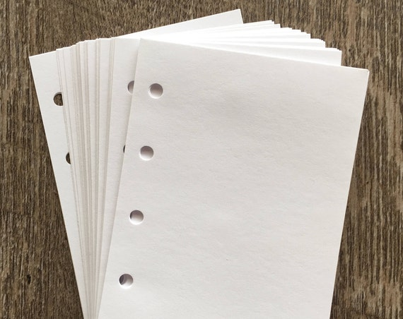 Mini planner 40 plain white sheets refill (Filofax Mini size) printed inserts