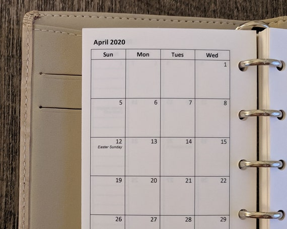 Mini planner 2020 SUNDAY start monthly calendar refill (Filofax Mini size)
