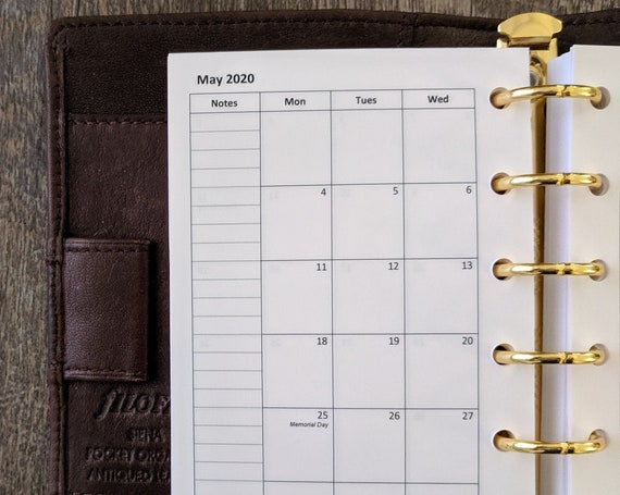 Pocket planner 2020 Monday start Monthly calendar refill