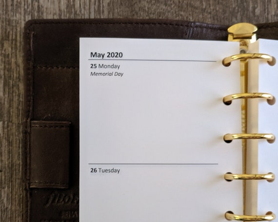 Pocket planner 2020 Two-Days-on-a-Page calendar refill insert
