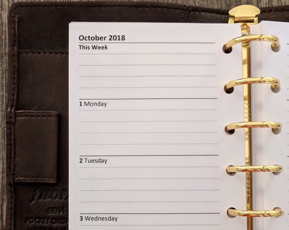 Pocket Academic July 2018-19 Weekly Lined planner calendar refill (Filofax Pocket size)