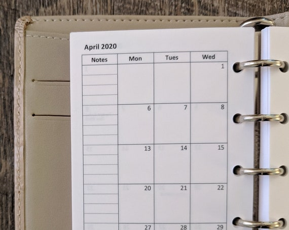 Mini planner 2020 Monday start monthly calendar refill (same size as Filofax Mini)