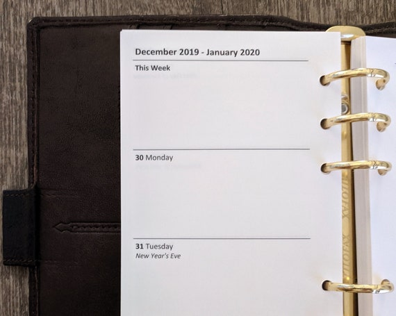 Personal planner 2020 Week-on-Two-Pages calendar refill insert